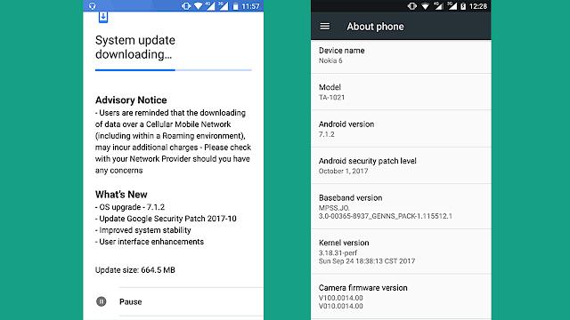 Nokia 6 primește actualizarea la Android Nougat 7.1.2