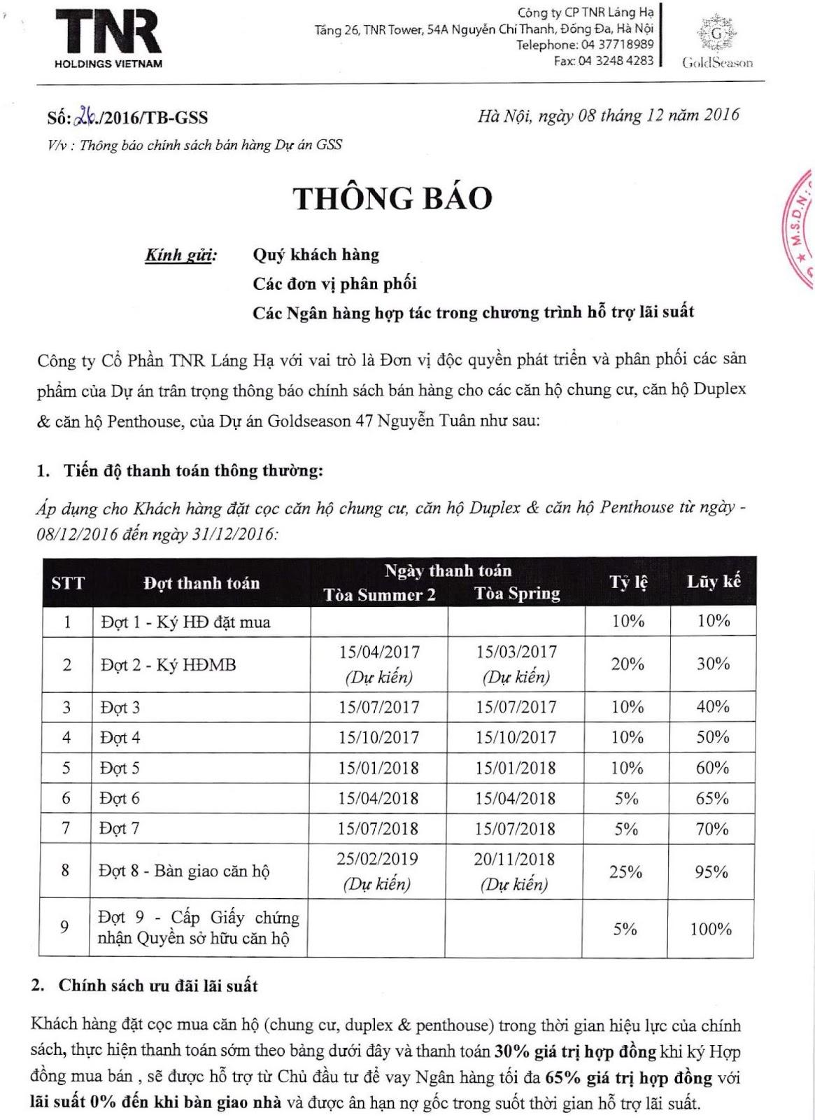 Thông báo chính sách đóng tiền dự án chung cư GoldSeason của TNR Holdings Việt Nam