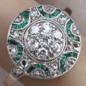 Art Deco emerald and diamond ring.
