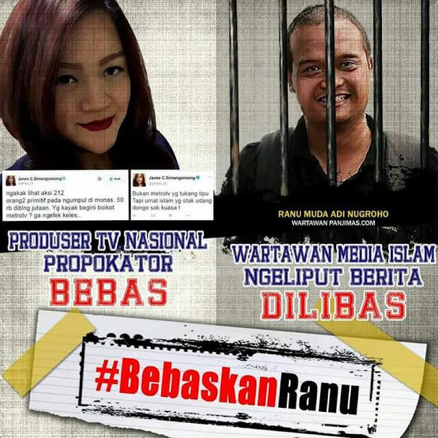 Ranu Muda Wartawan Islam Hanya Liput Berita Ditangkap, Giliran Janes C.Simangunsong Penghina Ulama dan Provokator TV Besar Bebas