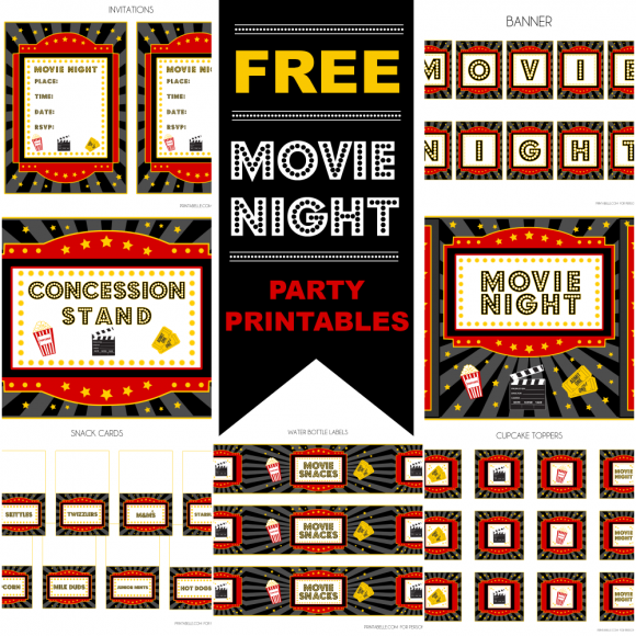 Movies Party: Free Printable Kit.