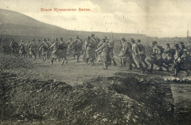 Serbian soldiers after the Battle of Kumanovo (23–24 October 1912) during the First Balkan War