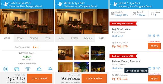 Kemudahan fasilitas Traveloka App untuk memilih hotel
