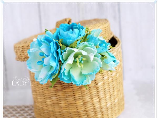 Foamiran Flowers in Turquoise