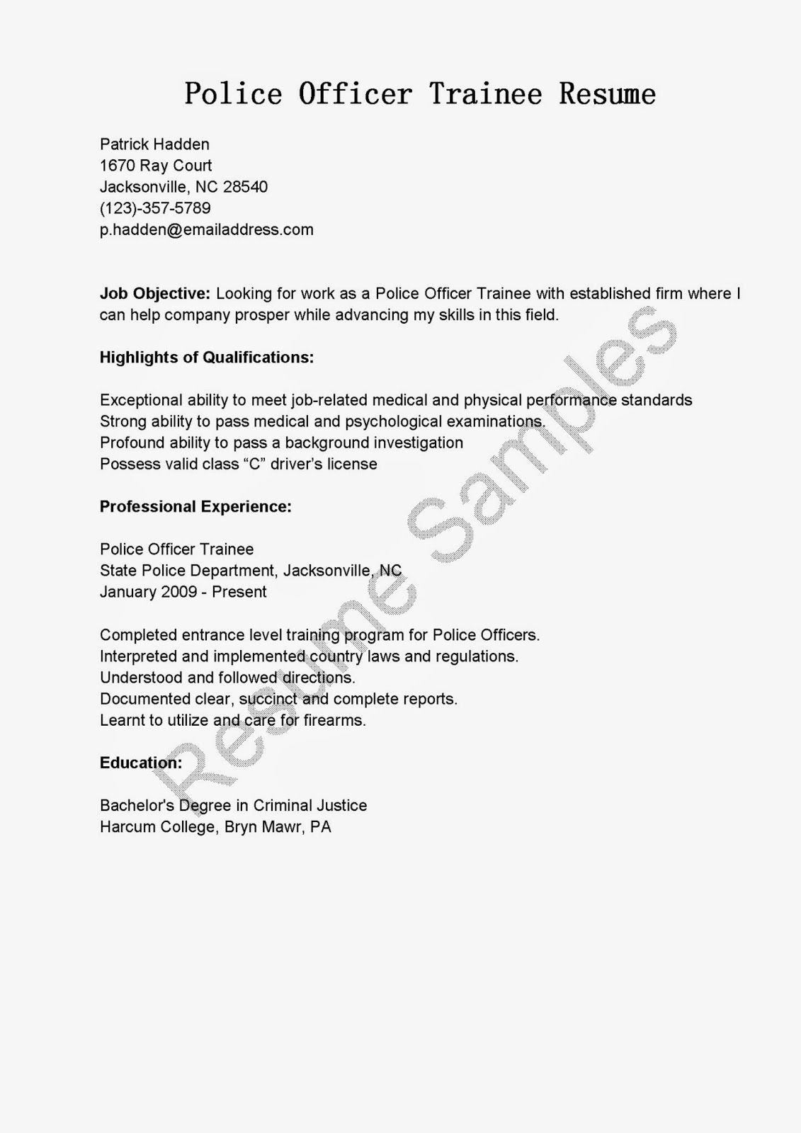 Police Officer Resume Examples Resume Samples Police Officer Trainee Resume Sample