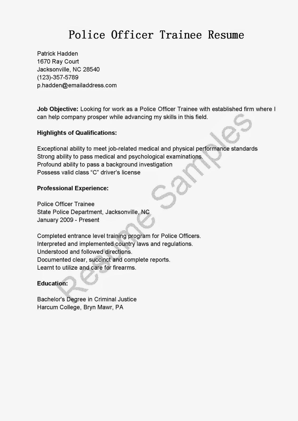 Sample Resume For Entry Level Police Officer