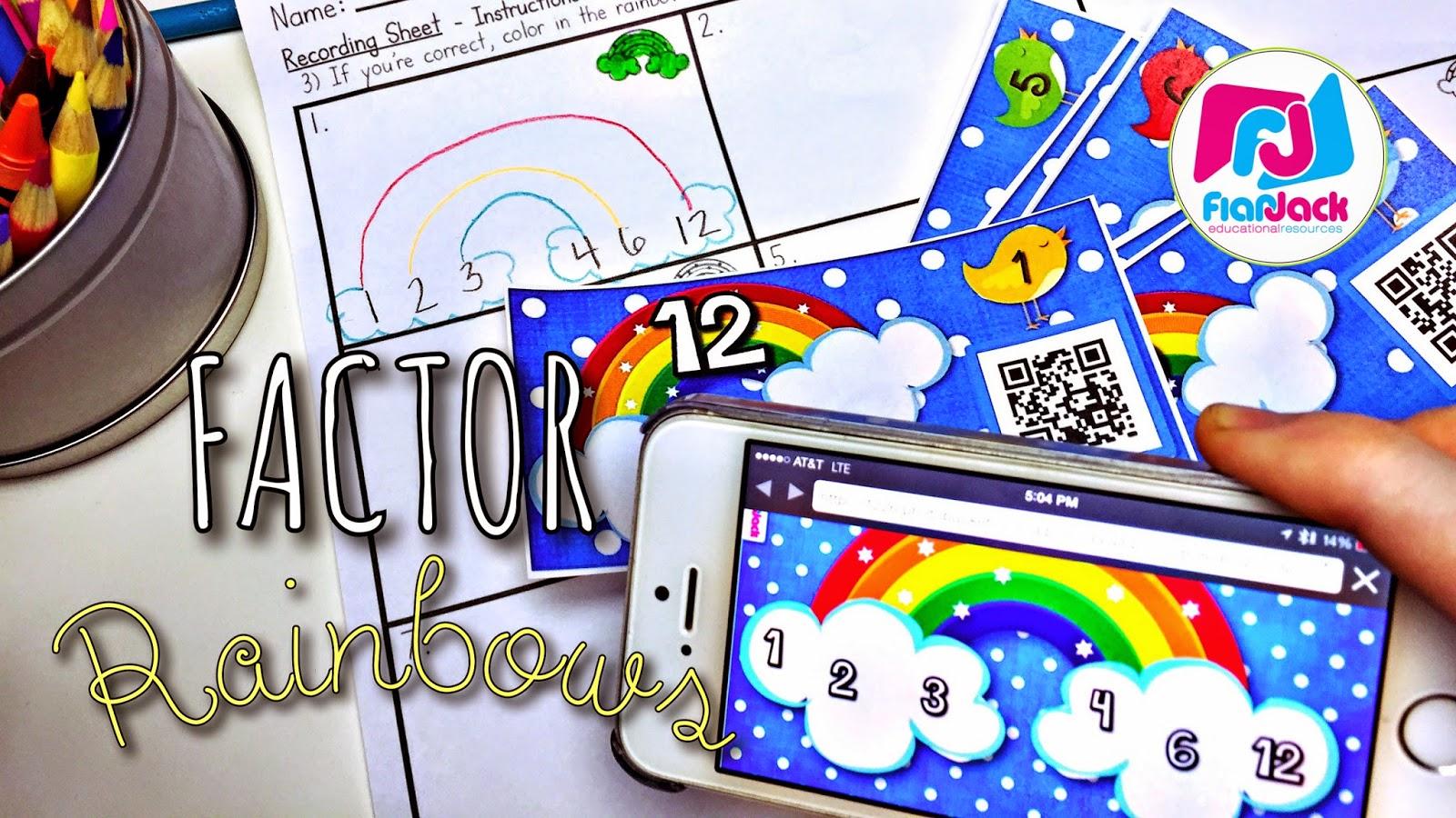 Flapjack Educational Resources Factor Rainbows Freebie