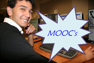 Student with computer overlaid with word: MOOC's