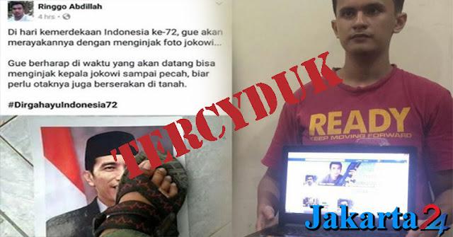Pemilik Akun Ringgo Abdillah Seorang Pelajar SMK Yang Injak Foto Presiden Jokowi Di Tangkap Polrestabes Medan