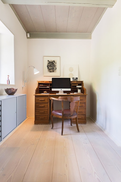 Secretary desk in office of Danish farmhouse on Hello Lovely Studio