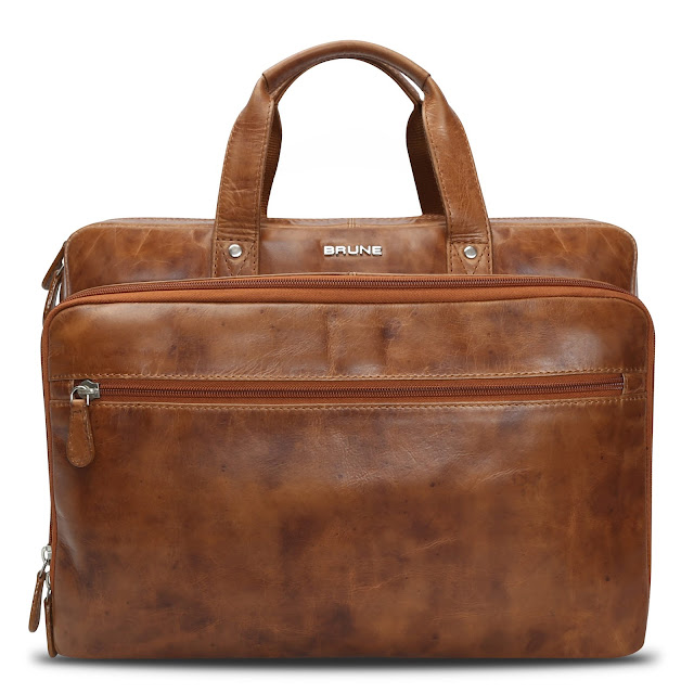 BRUNE TAN LEATHER OFFICE LAPTOP BRIEFCASE