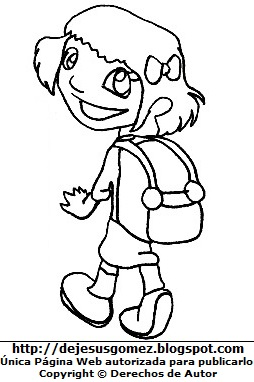 Dibujo de niña caminando a su escuela para colorear o pintar. Niña hecho por Jesus Gómez