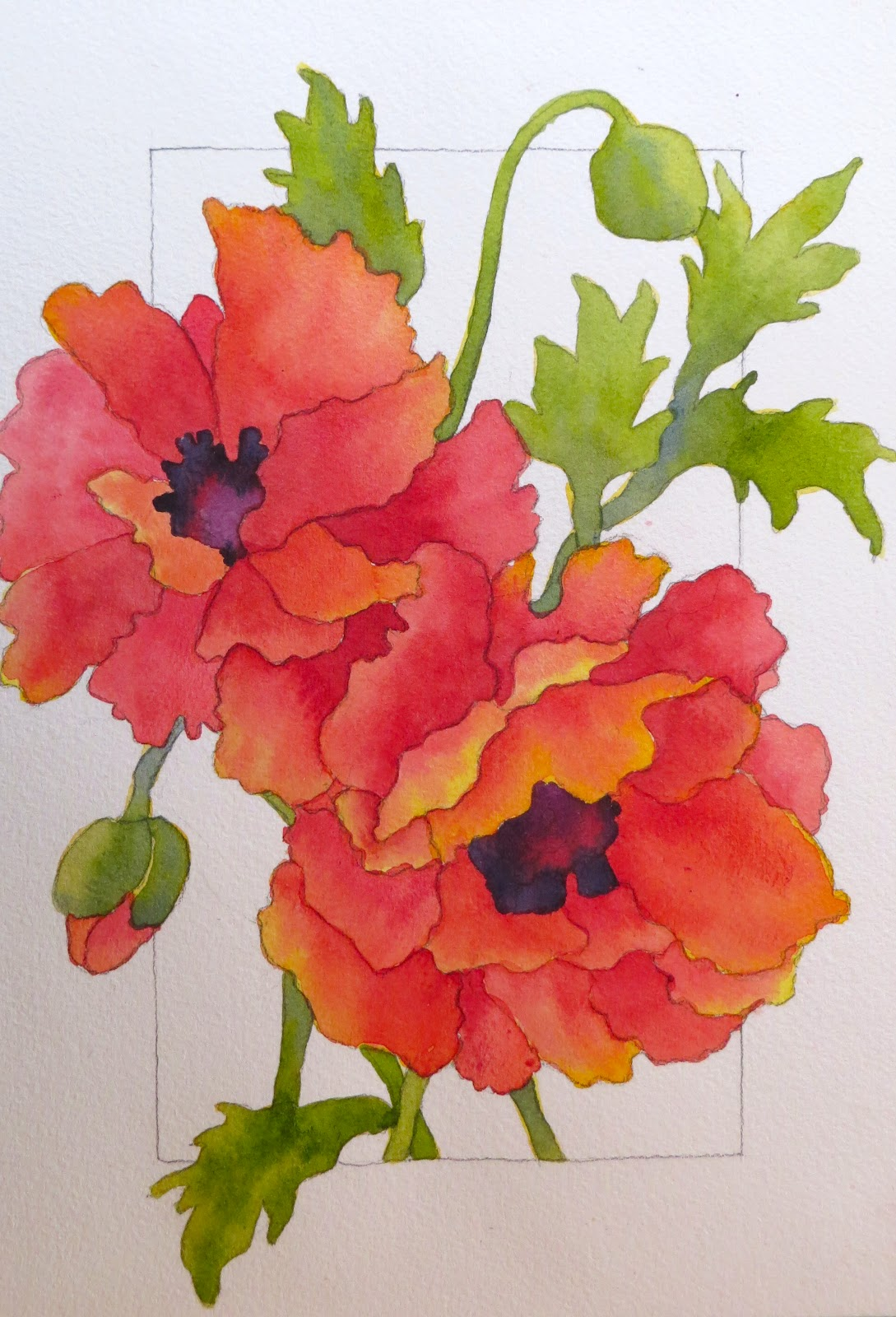 The Painted Prism: WATERCOLOR WORKSHOP: Painting Red Poppies |Watercolor Poppies Pink
