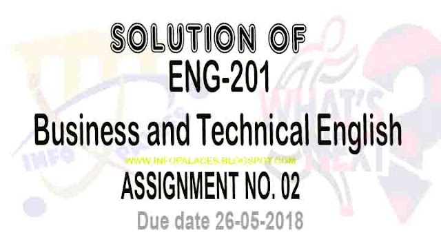 ENG 201 Assignment No 2 Solution Spring 2018