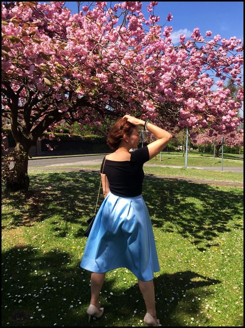 #phenomenalus #phenomenaluschallenge, Adriana Style Blog, Badotte Top, blog modowy Puławy, Bluzeczka Bardotka, Fashion, Midi Skirt, moda, Nude Heels, Spódnica Midi, Spring, Stylizacja, Szpilki Nude