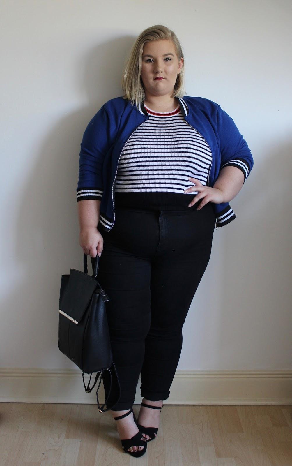 Velveteen Femm Simply Be Blue Bomber Jacket Stripe Top