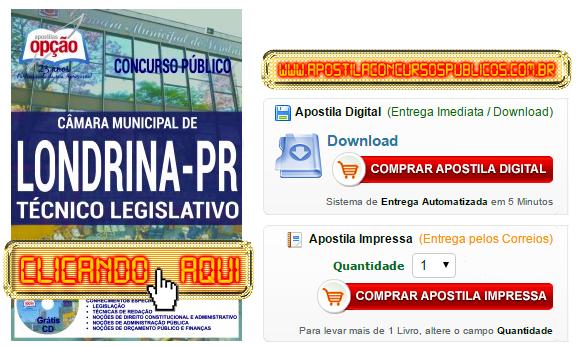 Apostila Concurso Câmara de Londrina 2016 Técnico Legislativo PDF Impressa