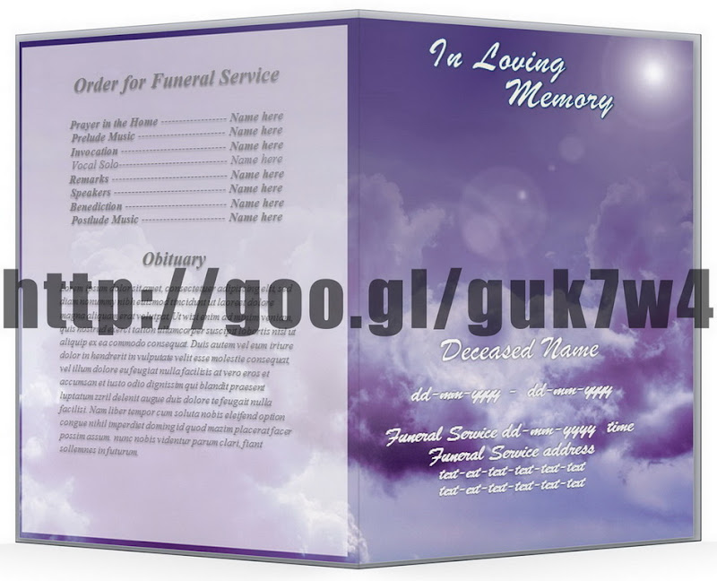 Purple Sky Funeral Program Obituary Template In Word A4* Free