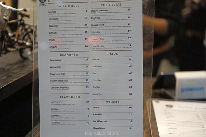 Daftar menu dan harga di Eternity Coffee Jogja