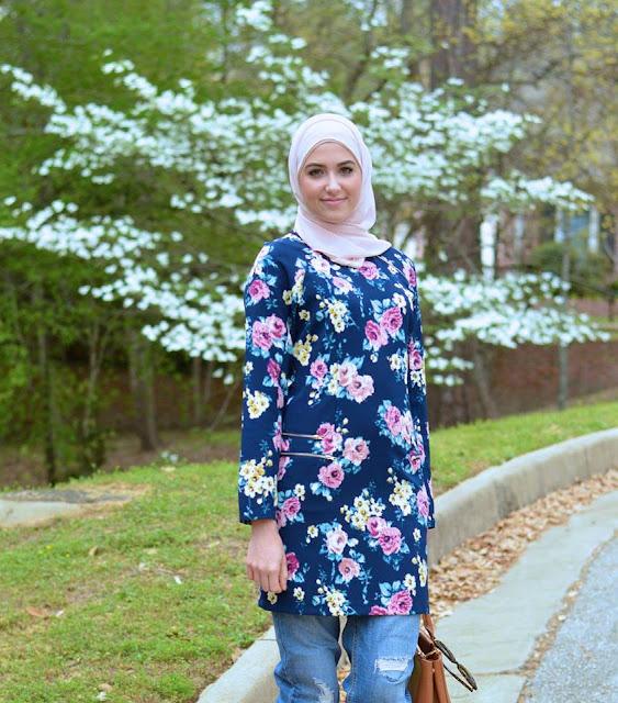 Tunique avec hijab long moderne 2016