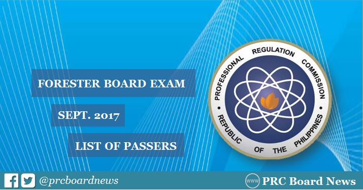 OFFICIAL RESULTS: September 2017 Forester board exam list of passers
