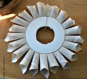 Vintage, Paint and more... front view of base of book page wreath after first row of cones have been attached