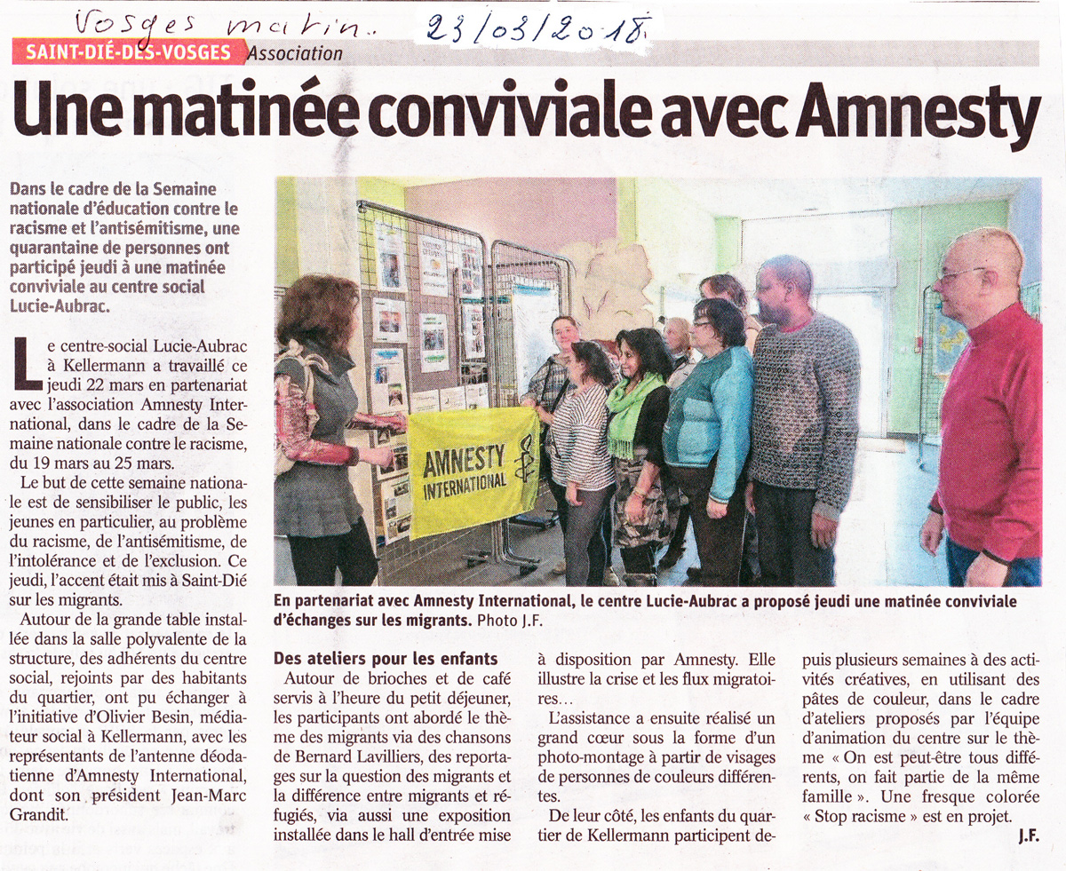 Amnesty International Saint Die Des Vosges 22 Mars 2018