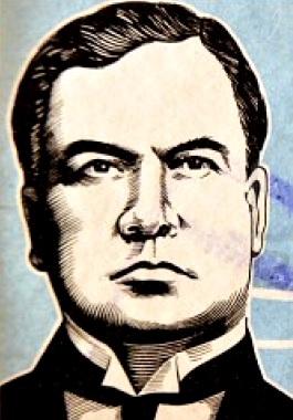 Ilustración de Rubén Darío serio