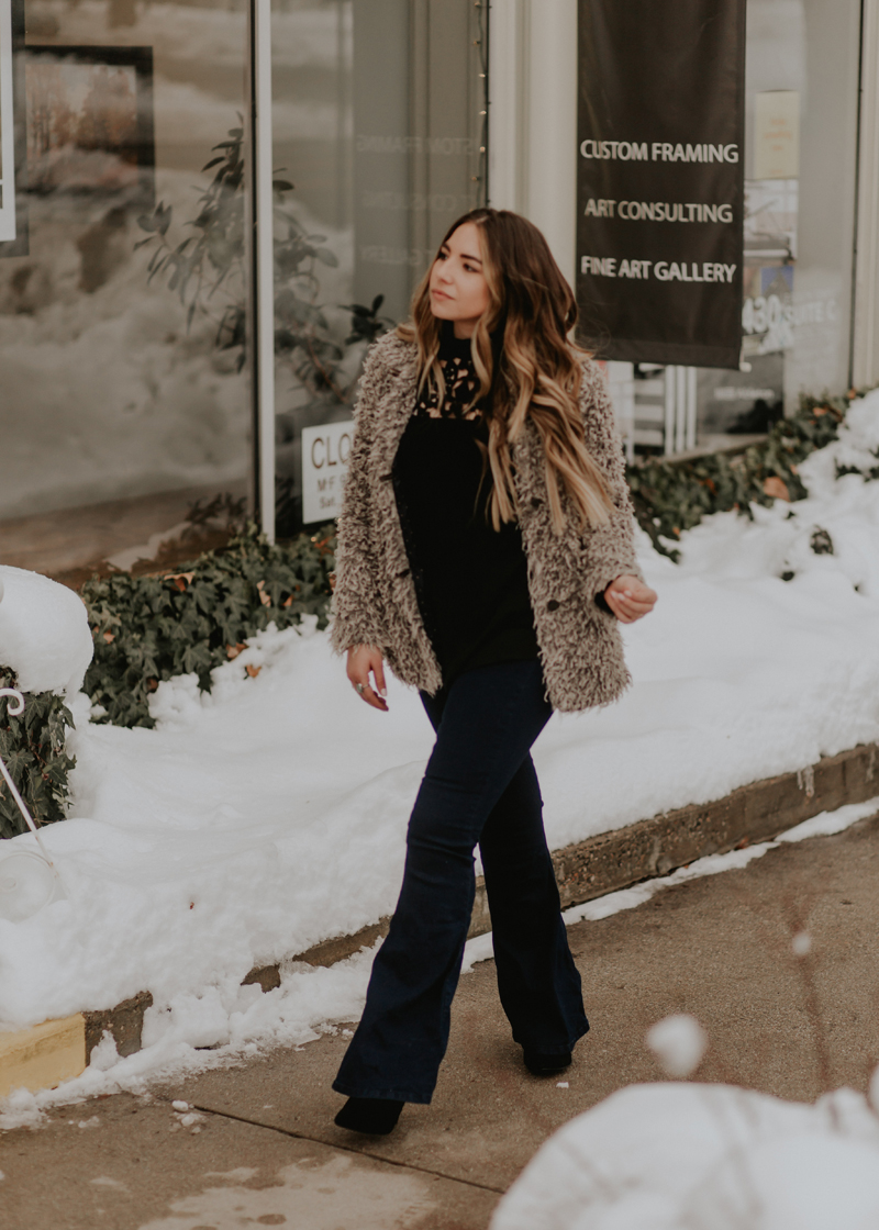 flare jeans, free people, heeled booties