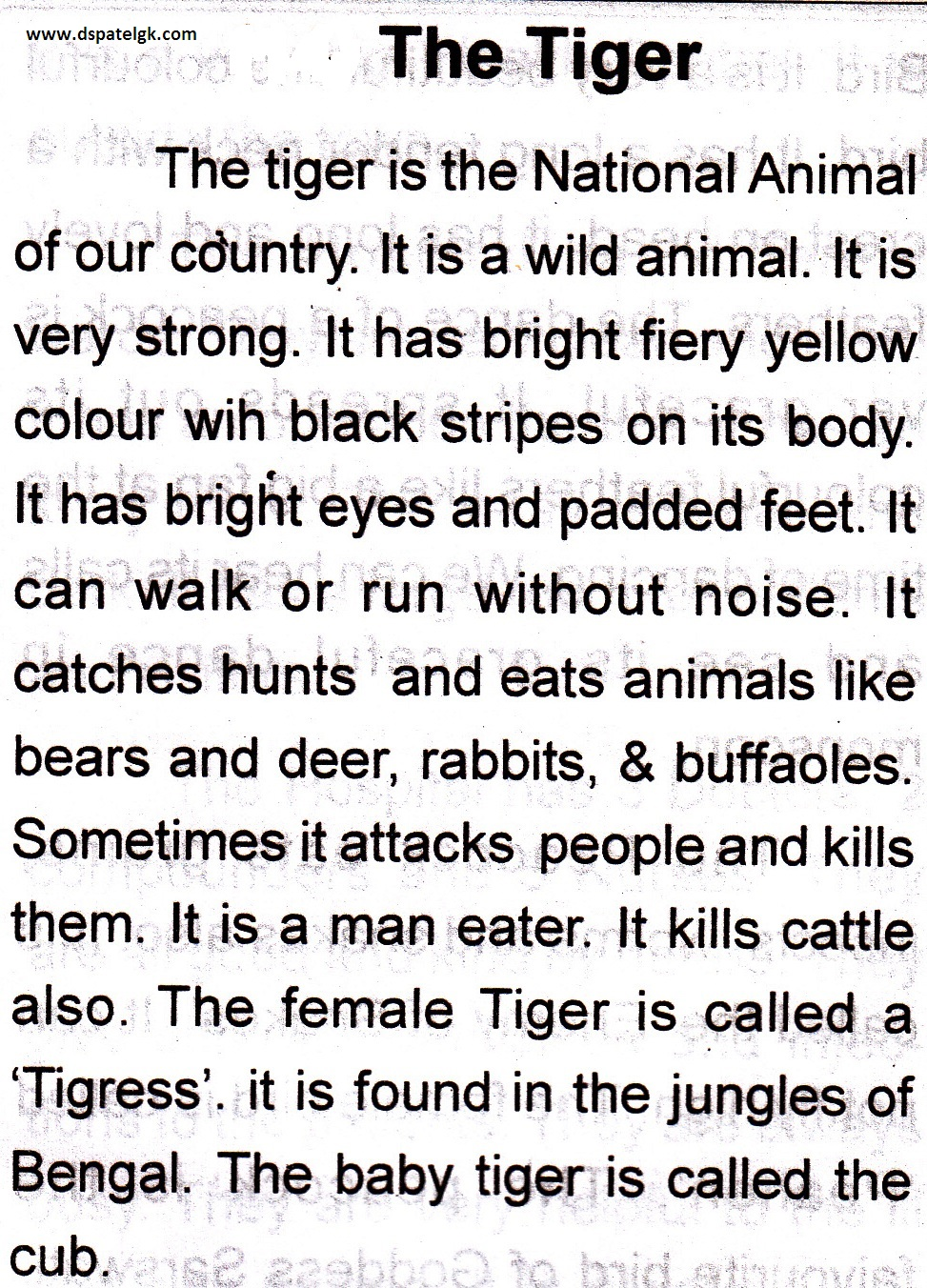 Tiger essay in gujarati