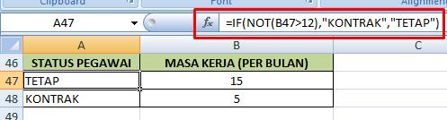 contoh formula fungsi not