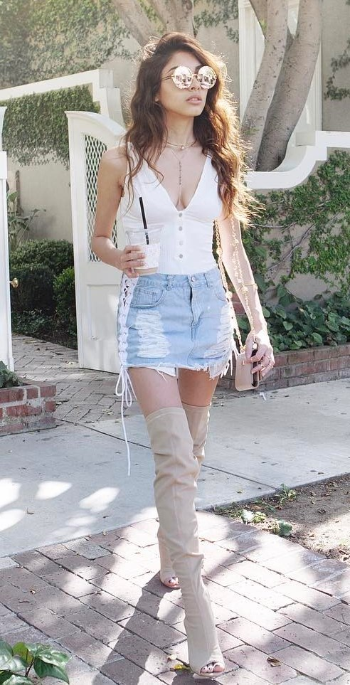 cool summer outfit: top + denim shorts + over the knee boots