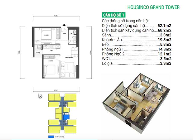Thiết kế căn 01 Housinco Grand Tower