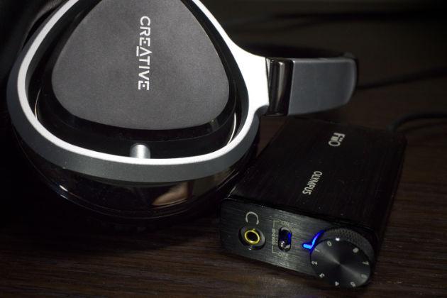 Słuchawki Creative Aurvana Live 2 i wzmacniacz słuchawkowy FiiO Olympus