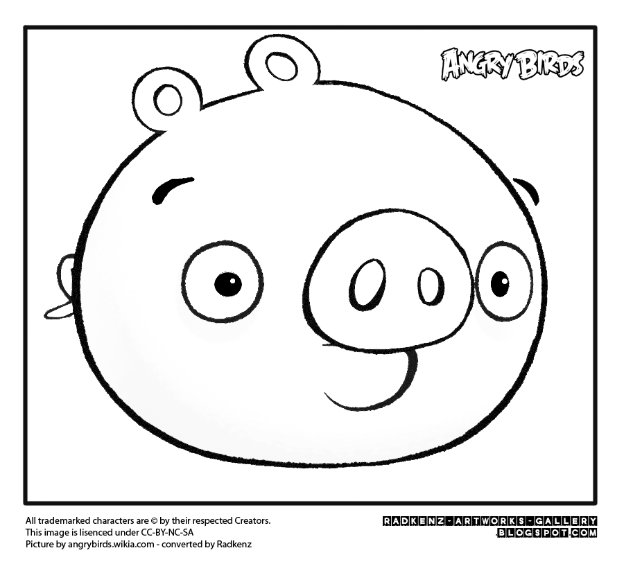 Radkenz Artworks Gallery: Angry birds coloring page - the pig