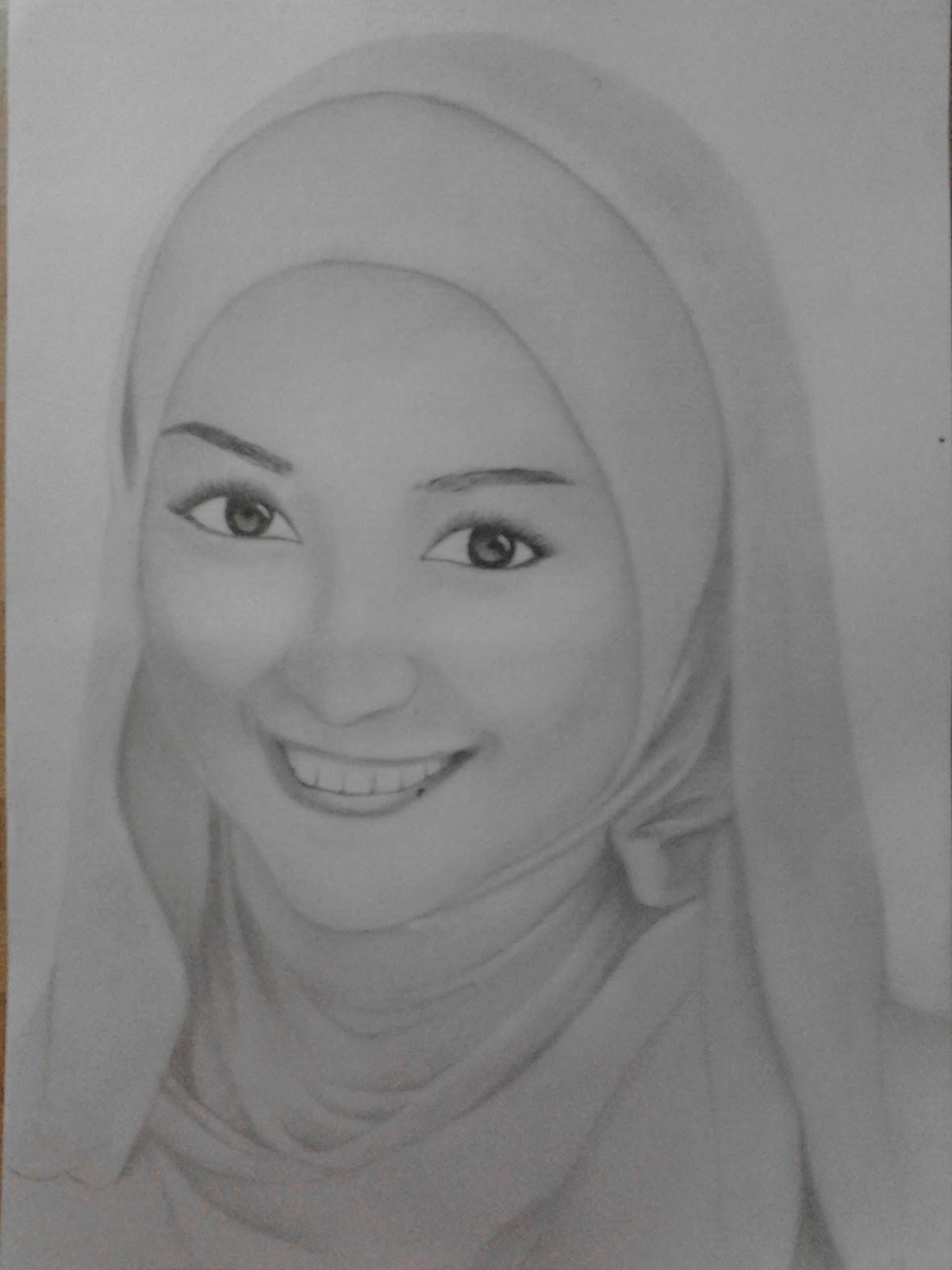 Gambar Sketsa Wajah Hijab