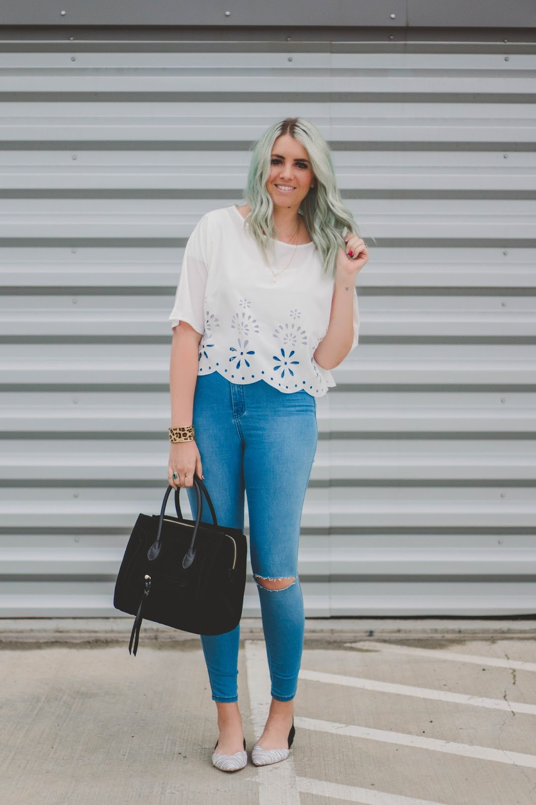 Blue Hair, Crop Top, Spring Outfit, Modest Fashion Blogger