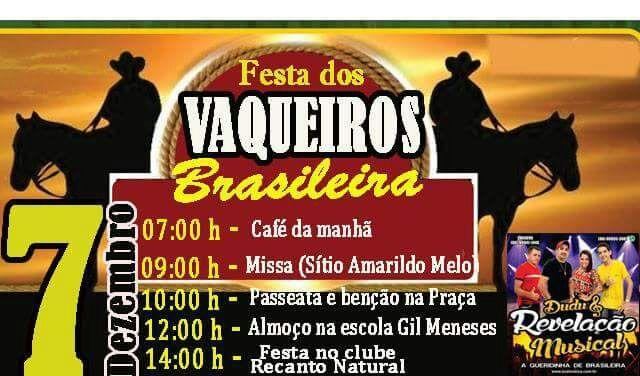 Festa dos Vaqueiros acontece nesta quarta em Brasileira