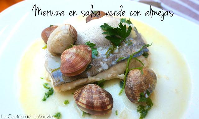 Merluza salsa verde almejas receta presentacion plato