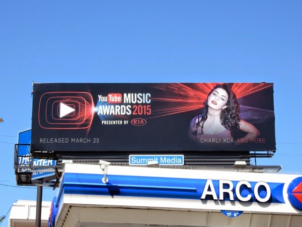 2015 YouTube music awards Charli XCX billboard