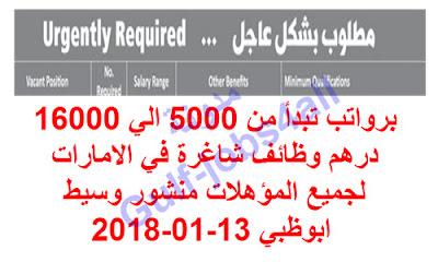 برواتب تبدأ من 5000 الي 16000 درهم وظائف شاغرة في الامارات لجميع المؤهلات منشور وسيط ابوظبي 13-01-2018
