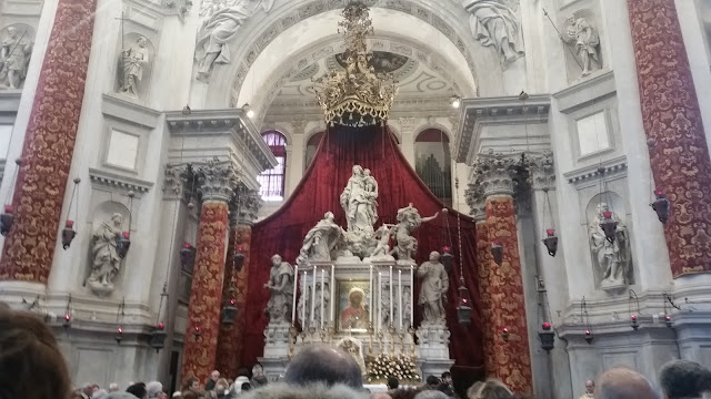 Decorated inside of the church La Salute for the festa 2016