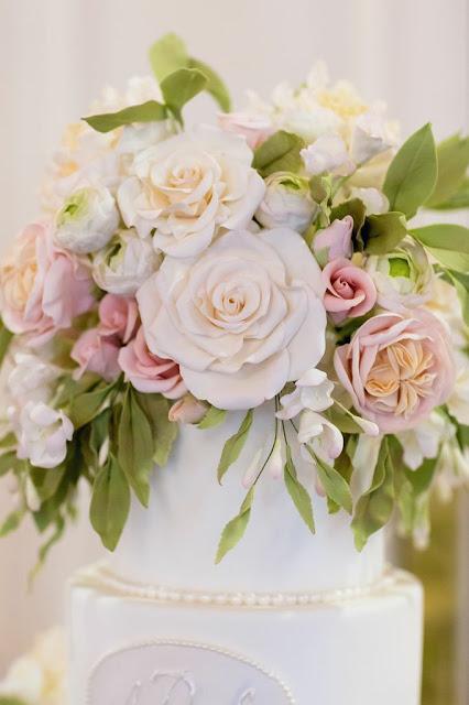 Wedding Cake Yellow With Cream Cascading Roses