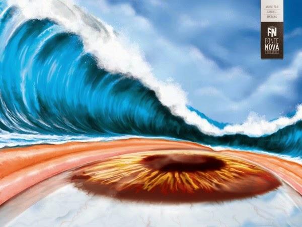 Ilustración de un ojo y u tsunami para una publicación de una librería en Brasil