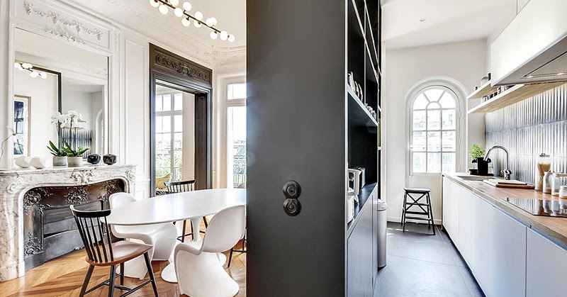 Un appartement haussmannien moderne et design blog d co for Idee de separation cuisine salle a manger