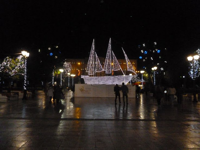 Traditional Greek Christmas Boat  Syntagma Square Athens 2014