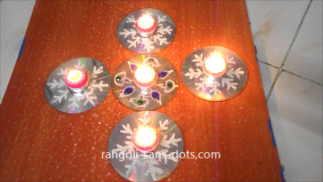 CD Rangoli Designs For Navratri Diwali Craft