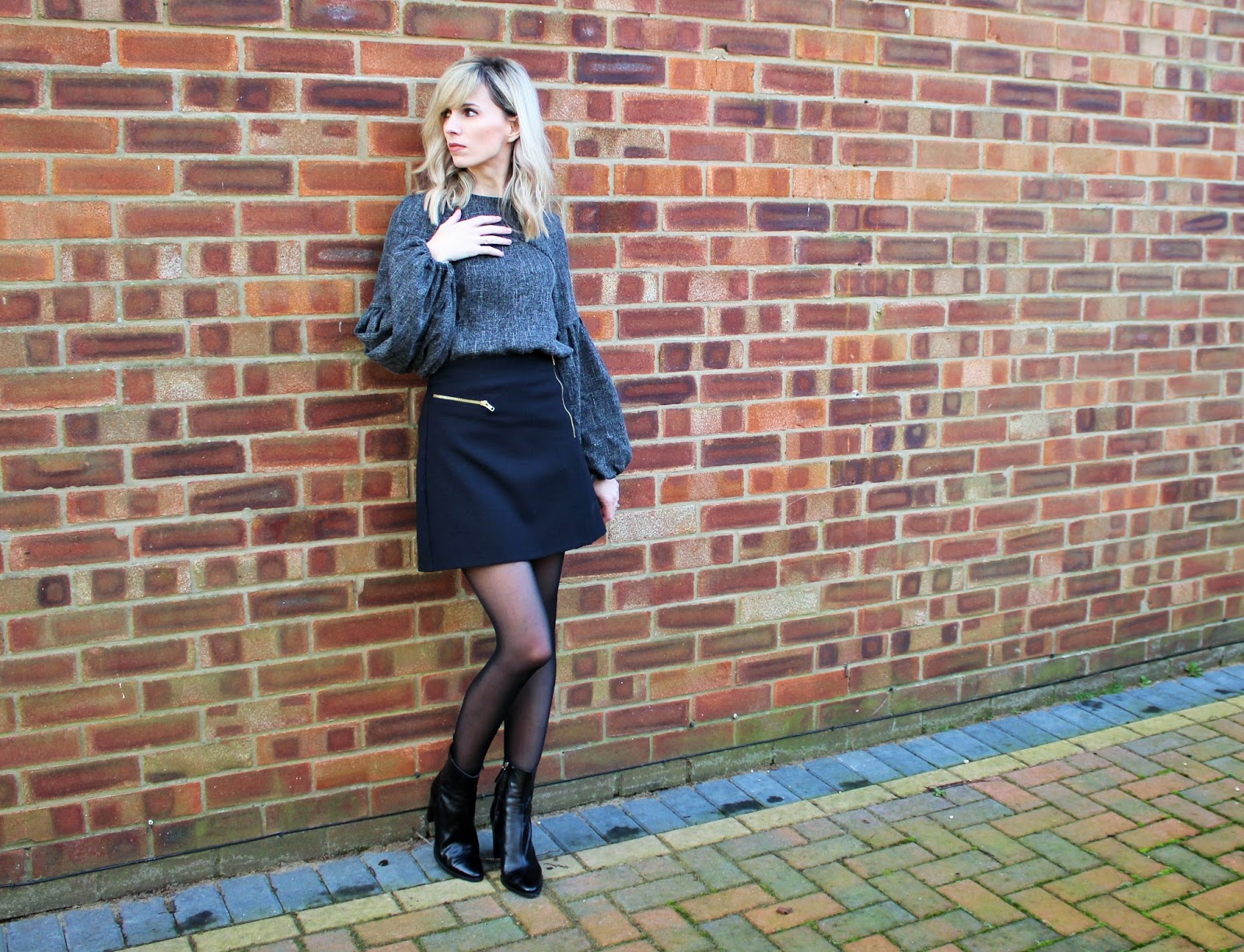 OOTD featuring Shein balloon sleeve top, Topshop A-line Skirt and Zara Ankle Boots - 2