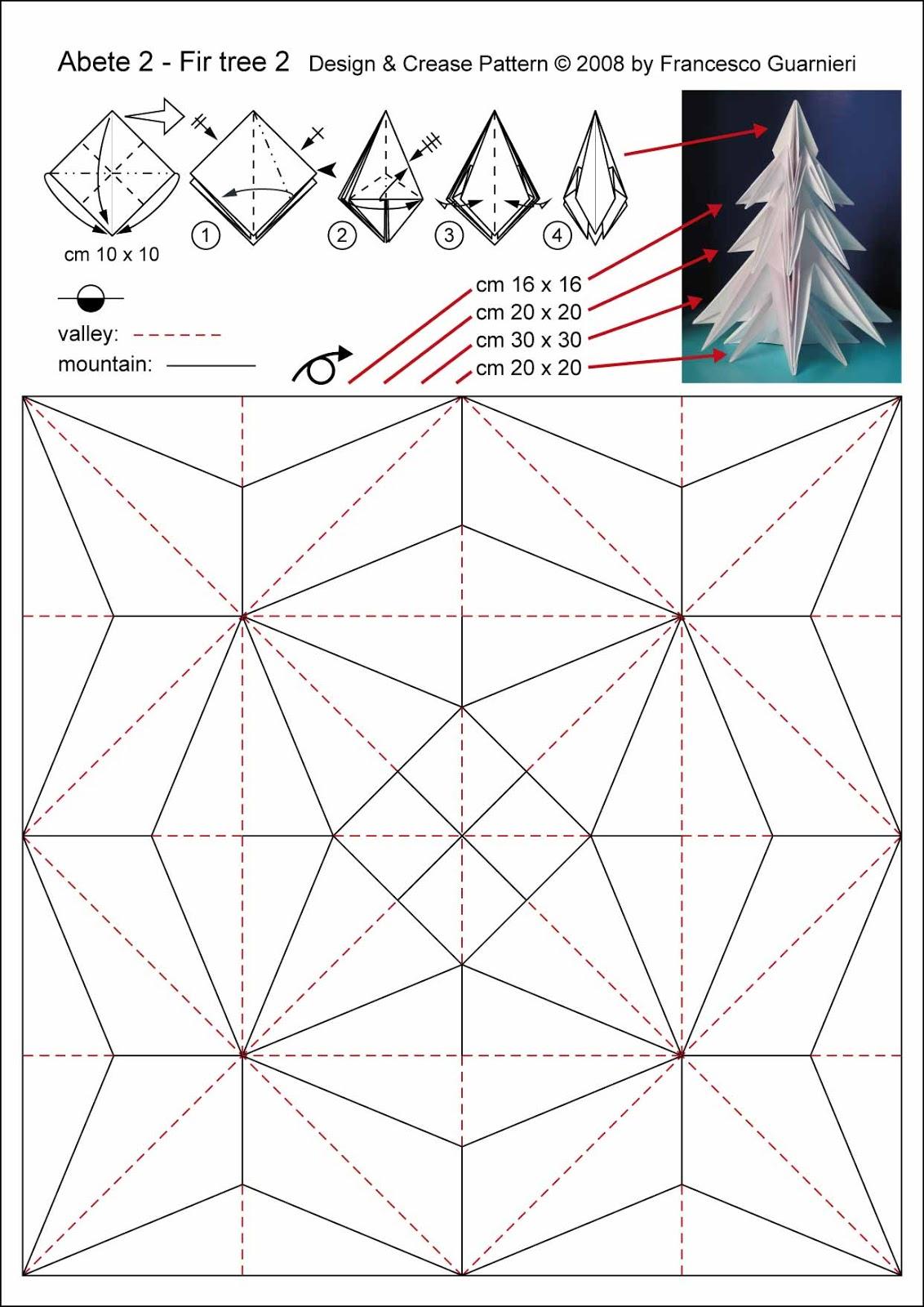 Origami diagrammi-CP Abete 2 - Fir tree 2 by Francesco Guarnieri.