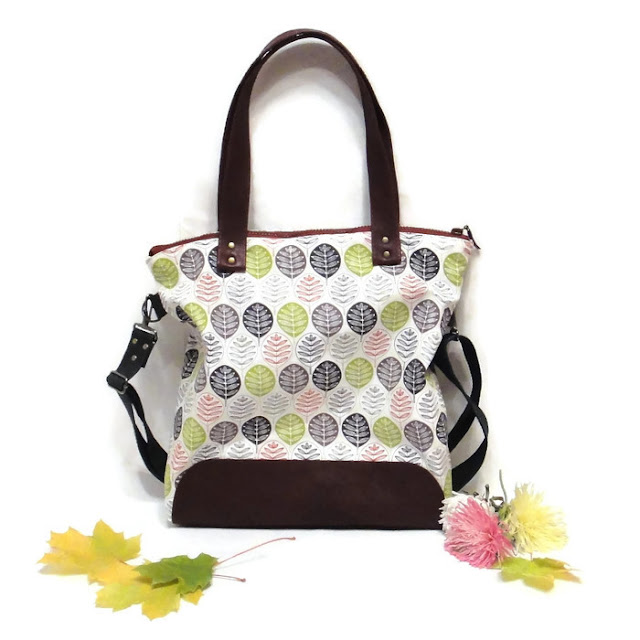 Осенняя сумка Хлопок канвас и натуральная кожа Crossbody bag Сумка через плечо, сумка шоппер на молнии